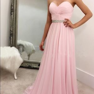 Sequin Hearts light pink strapless prom dress